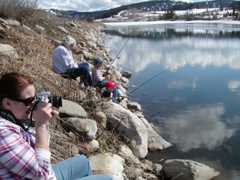 Children Fishing at Sidley Lake in late March