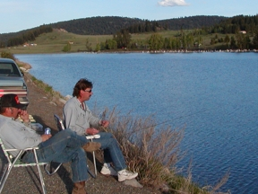 Bank fishing at Sidley Lake in northeastern Washington