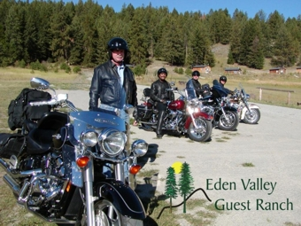 Motorcycles have a packed lane at Eden Valley Guest Ranch